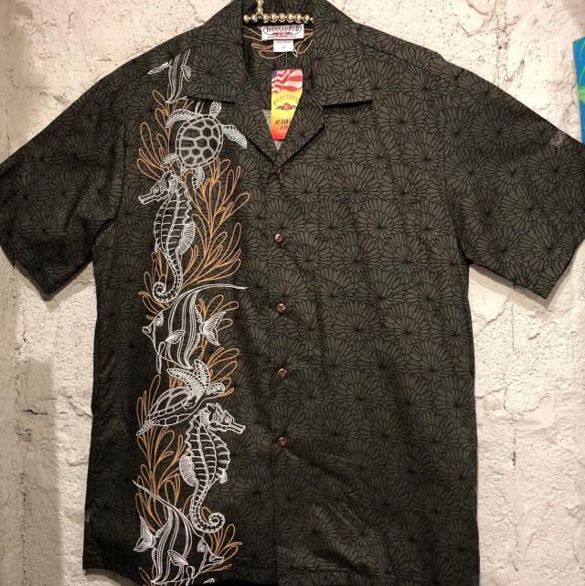 Mensアロハシャツ /シーホース&ホヌBK