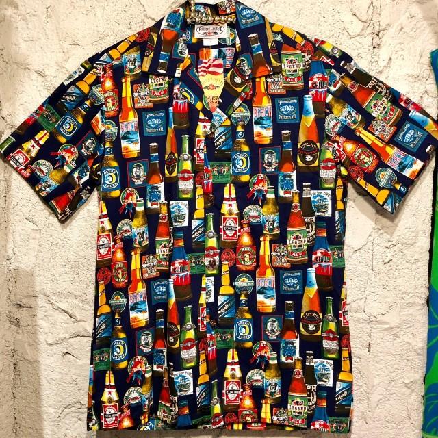 Mensアロハシャツ /ビール/BK/WH