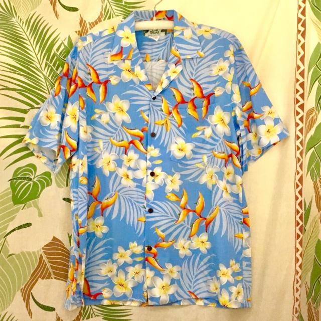Mensアロハシャツ /バードオブバラダイスBL/Mサイズ