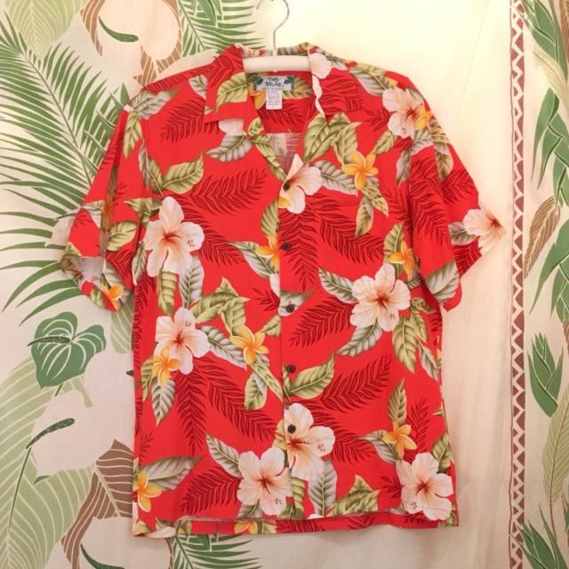 Mensアロハシャツ /ハイビスカスRED/Mサイズ