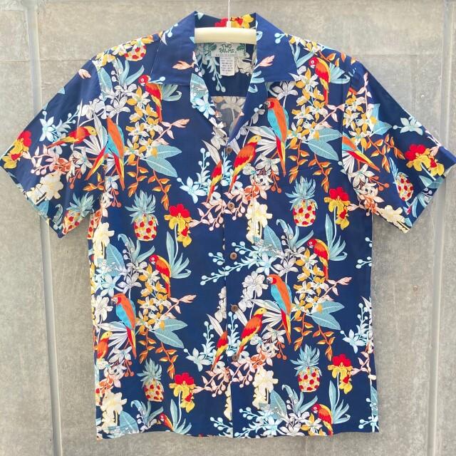 Mensアロハシャツ/Parrots/Navy