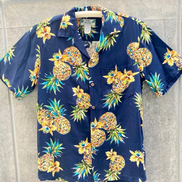 Mensアロハシャツ/Golden Pineapple/Navy