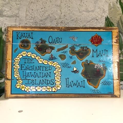 インテリアピクチャー/ハワイアン★HIマップ ★【ハワイアンインテリア】