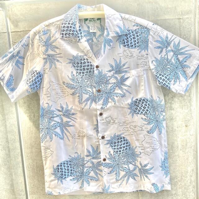 Mensアロハシャツ/Pineapple Map/White