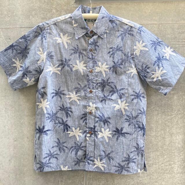 Mensアロハシャツ/Reverse/Palm/Navy
