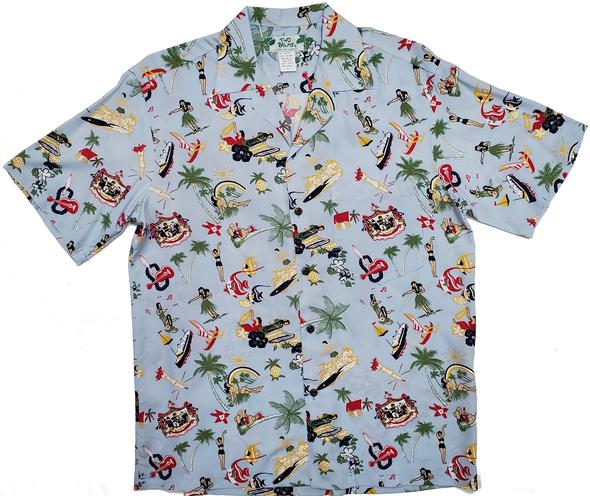 Mensアロハシャツ Vintage Aloha Blue