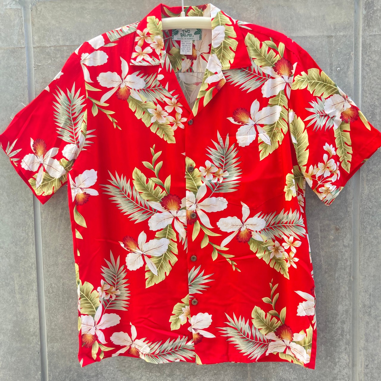 Mensアロハシャツ/Hawaiian Orchid/Red