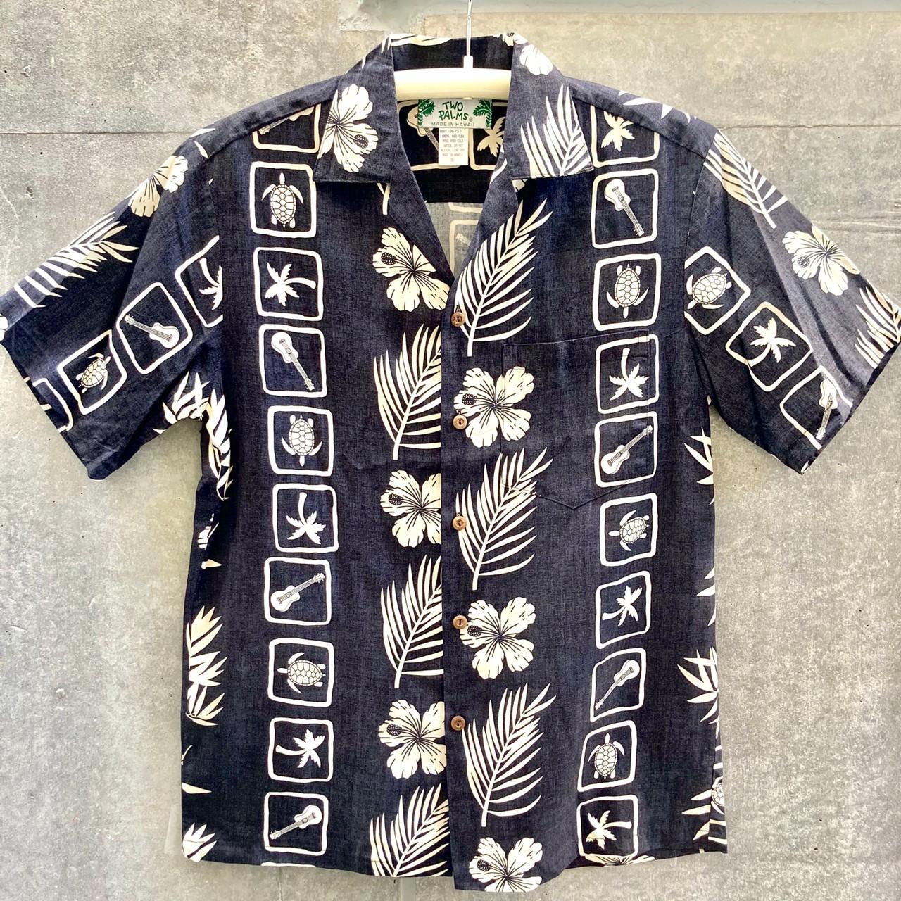 Mensアロハシャツ/Squares/Black