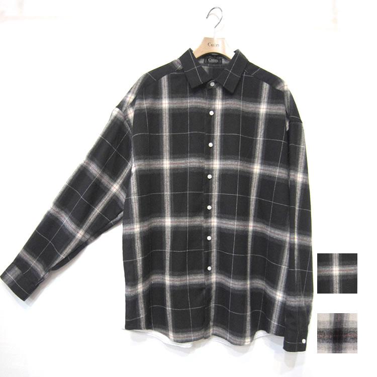 【新着】Cuirs(キュイー)メンズシャツ オリジナルオンブレチェック柄切り替えビッグシャツ新作デザイン