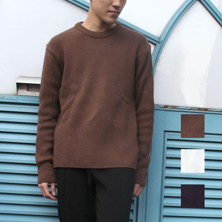 【セール】Cuirs(キュイー)メンズニット オリジナルあぜ編みクルーネックニット新作デザイン