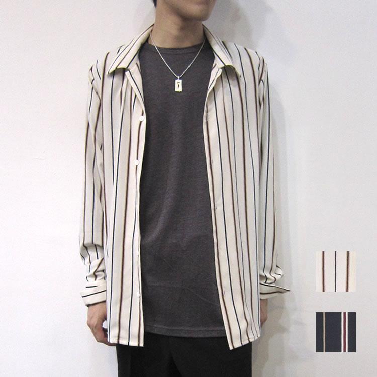 【新着】Cuirs(キュイー)メンズシャツ オリジナルストライプ柄オープンシャツ新作デザイン