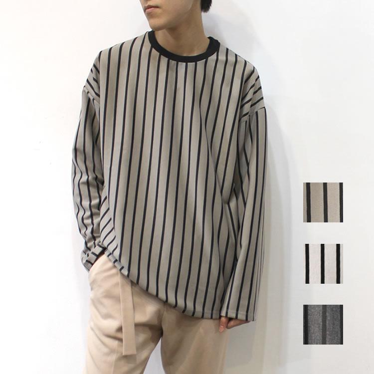 【新着】Cuirs(キュイー)メンズカットソー オリジナルストライプ柄オーバーロングTシャツ新作デザイン