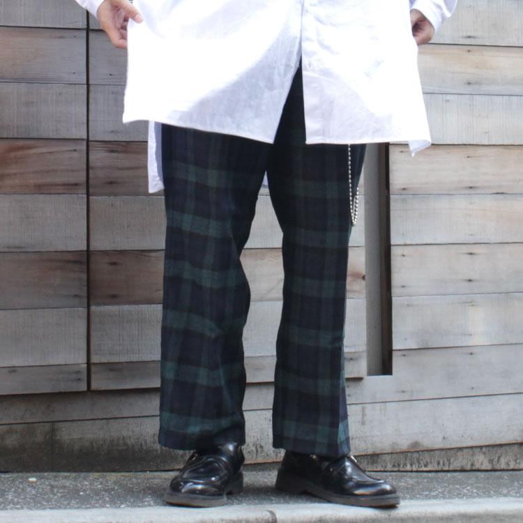 【セール】Cuirs(キュイー)メンズパンツ オリジナルグレンチェックワイドパンツ新作デザイン