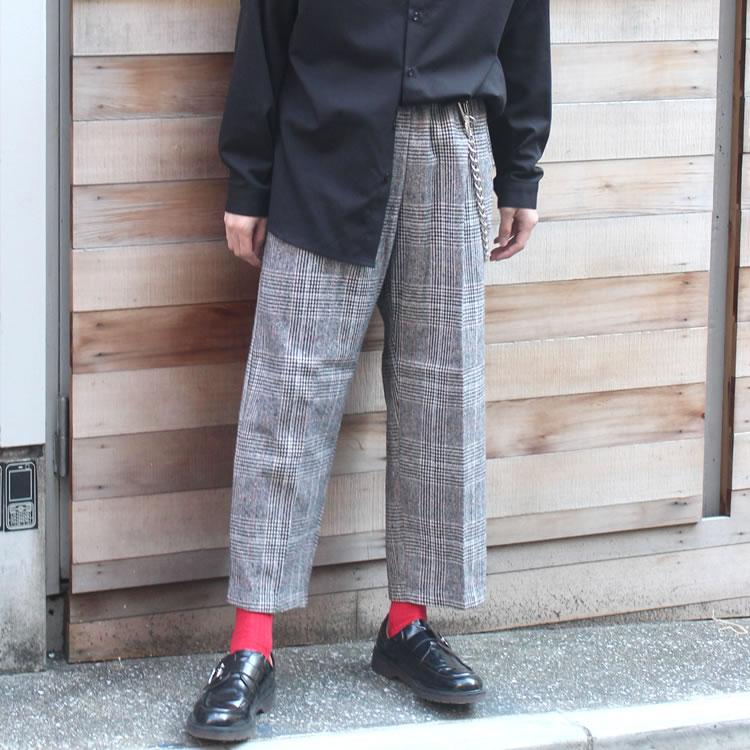 【セール】Cuirs(キュイー)メンズスラックス オリジナルグレンチェックイージーワイドスラックス新作デザイン