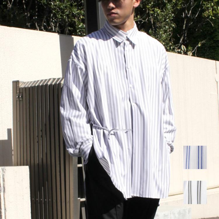 【新着】Cuirs(キュイー)メンズシャツ オリジナルストライプスピンドルロングシャツ新作デザイン