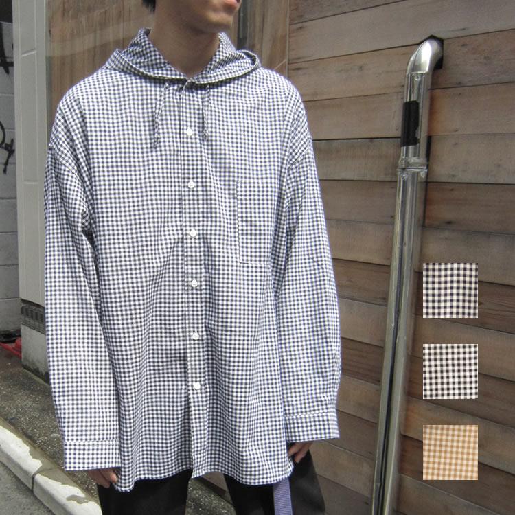 【新着】Cuirs(キュイー)メンズシャツ オリジナルギンガムチェックオーバーサイズフードシャツ新作デザイン