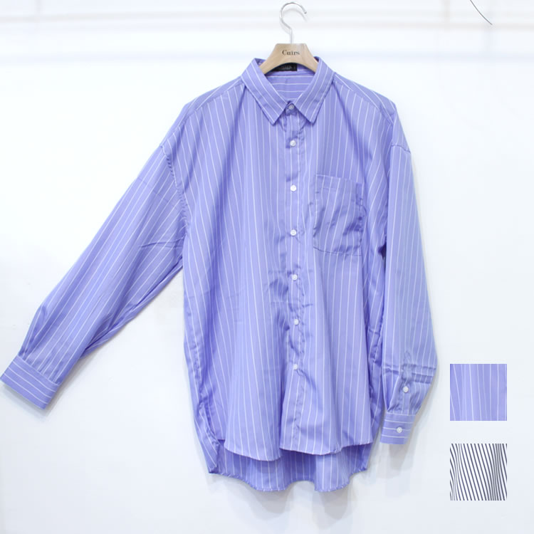 【新着】Cuirs(キュイー)メンズシャツ オリジナルさらさらストライプビックシャツ新作デザイン