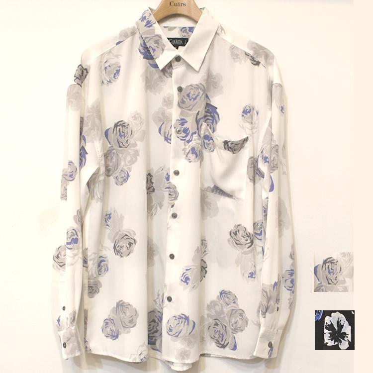 【新着】Cuirs(キュイー)メンズシャツ オリジナル総柄フラワープリントさらさらシャツ新作デザイン