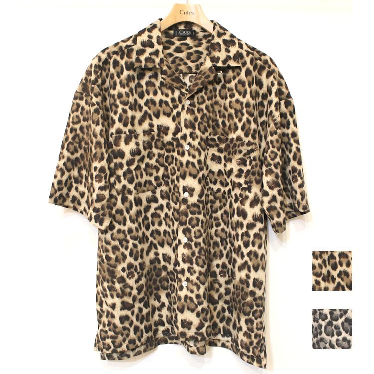 【セール】Cuirs(キュイー)メンズシャツ オリジナルレオパードプリントダブルポケットオープンシャツ新作デザイン