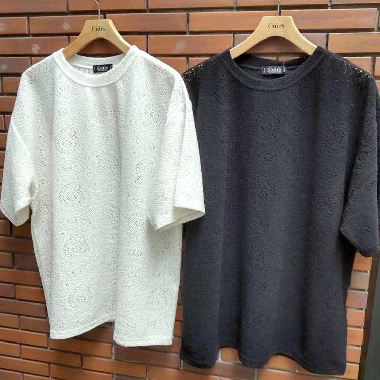 【再入荷】Cuirs(キュイー)メンズTシャツ レースクルーネックTシャツ 新作デザイン
