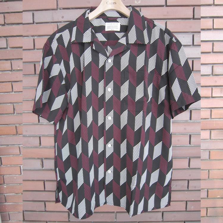 【新着】Cuirs(キュイー)メンズシャツ ヘリンボン総柄プリントオープンシャツ 新作デザイン