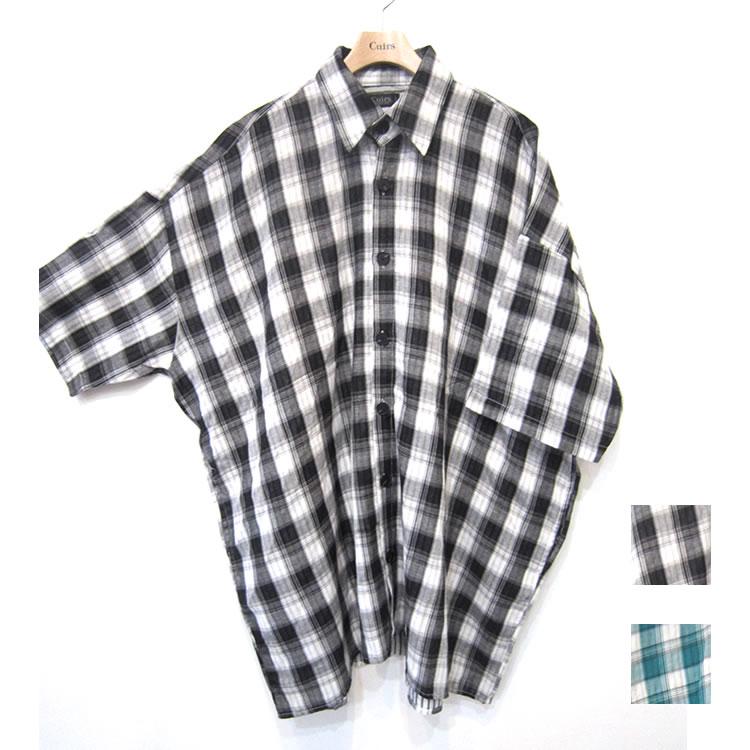 【新着】Cuirs(キュイー)メンズシャツ オリジナルチェック柄ダブルガーゼ5分袖オーバーシャツアウター新作デザイン