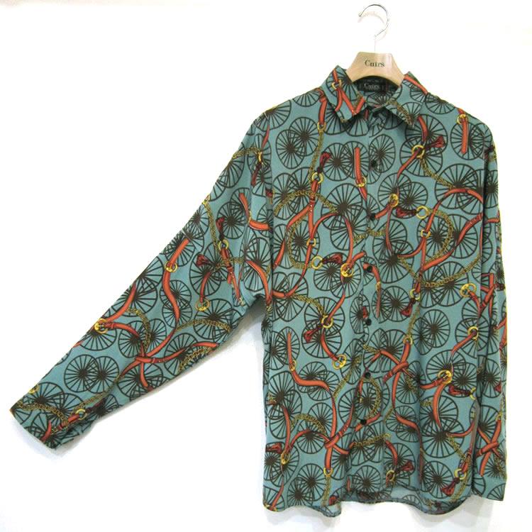 【新着】Cuirs(キュイー)メンズシャツ オリジナル総柄プリントドルマンスリーブシャツ新作デザイン