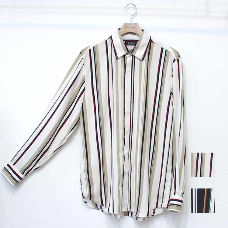 【新着】Cuirs(キュイー)メンズシャツ オリジナルさらさらマルチストライプレギュラーシャツ新作デザイン