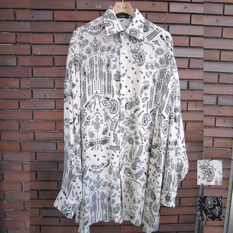 【新着】Cuirs(キュイー)メンズシャツ オリジナルペーズリー柄カットオフオーバーサイズシャツ新作デザイン