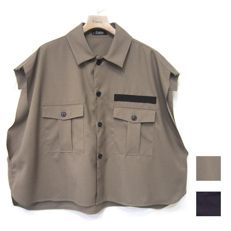 【新着】Cuirs(キュイー)メンズシャツ オリジナルTRノースリーブカットオフシャツ新作デザイン