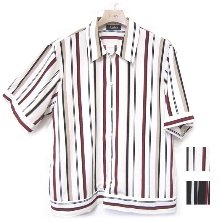 【再入荷】Cuirs(キュイー)メンズシャツ オリジナルショート丈マルチストライプオープンシャツ新作デザイン
