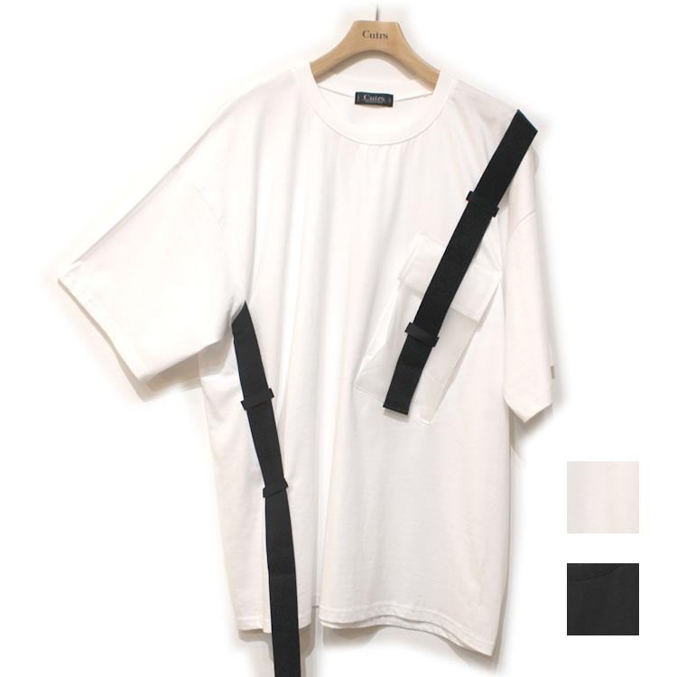 【新着】Cuirs(キュイー)メンズTシャツ オリジナルドローテープシリコンポケットTシャツ新作デザイン