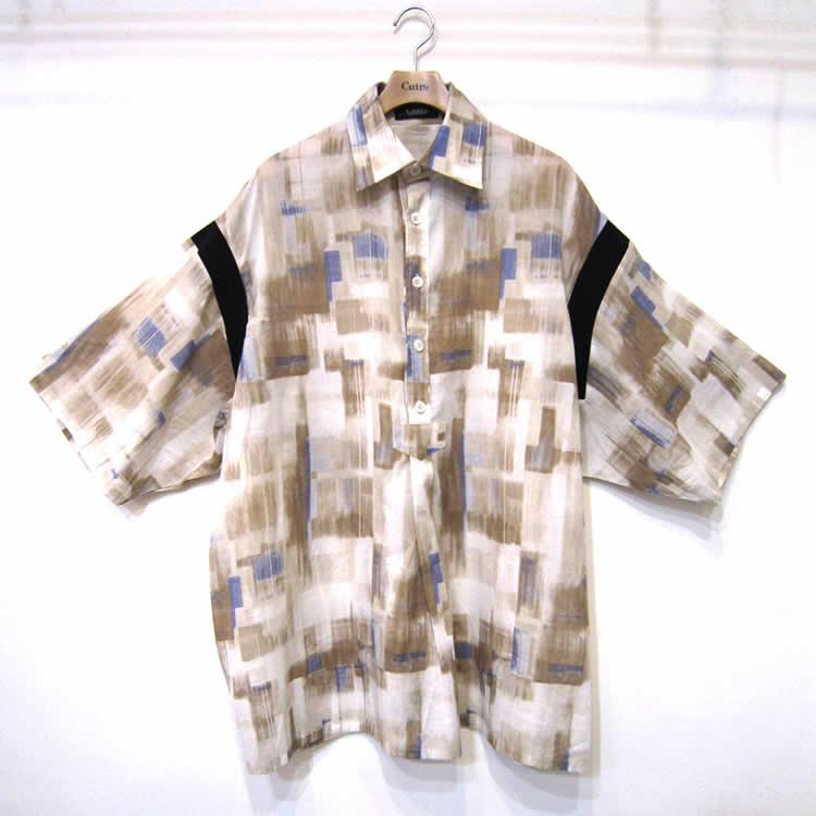 【新着】Cuirs(キュイー)メンズシャツ オリジナルプリント切り替えプルオーバーシャツ新作デザイン