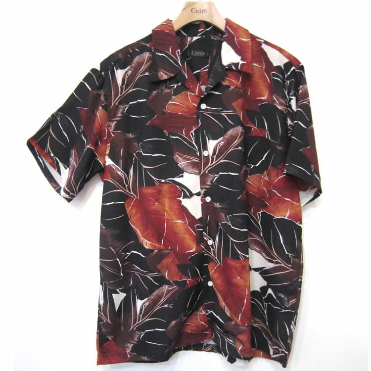 【新着】Cuirs(キュイー)メンズシャツ オリジナルリーフ柄オープンシャツ新作デザイン
