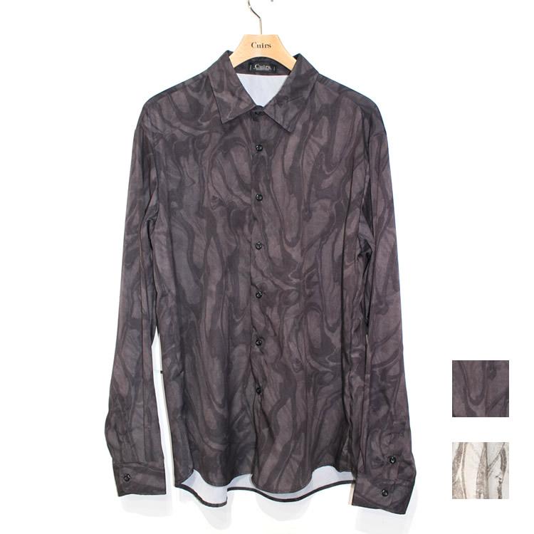 【新着】Cuirs(キュイー)メンズシャツ さらさらマーブルプリントシャツ 新作デザイン