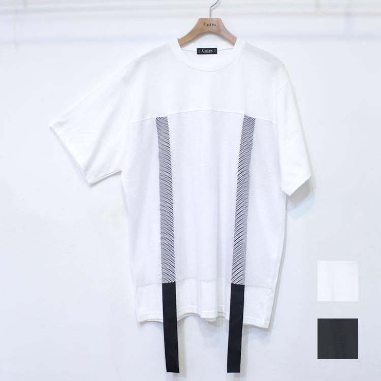 【新着】Cuirs(キュイー)メンズTシャツ オリジナルメッシュ切り替えドローコードTシャツ新作デザイン