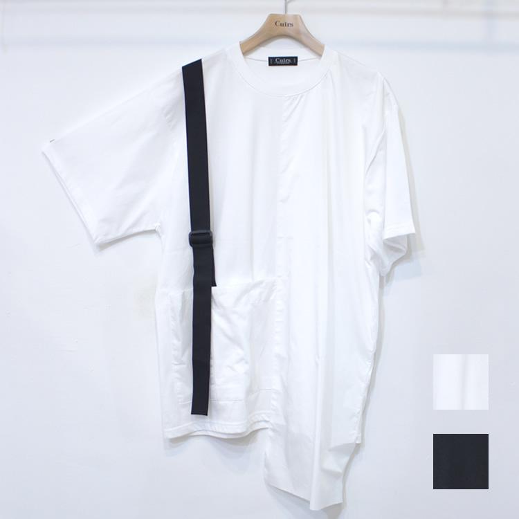 【新着】Cuirs(キュイー)メンズTシャツ オリジナルナイロン切り替えショルダーベルトビックTシャツ 新作デザイン