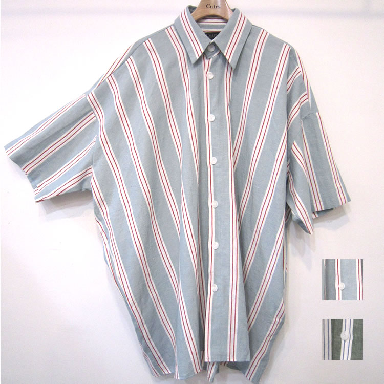 【再入荷】Cuirs(キュイー)メンズシャツ オリジナルストライプ5分袖BIGサイズシャツアウター新作デザイン