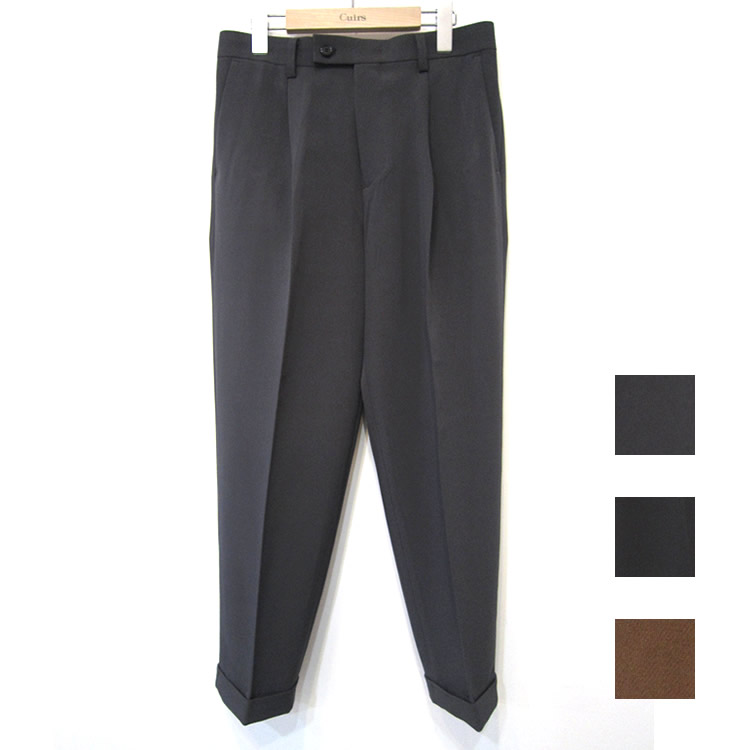 【新着】Cuirs(キュイー)メンズスラックス オリジナルワンタックテーパード裾ダブルスラックス新作デザイン