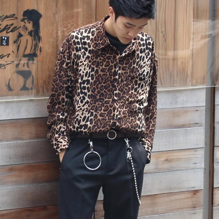 【新着】Cuirs(キュイー)メンズシャツ オリジナルレオパード柄オーバーBIGシャツ新作デザイン