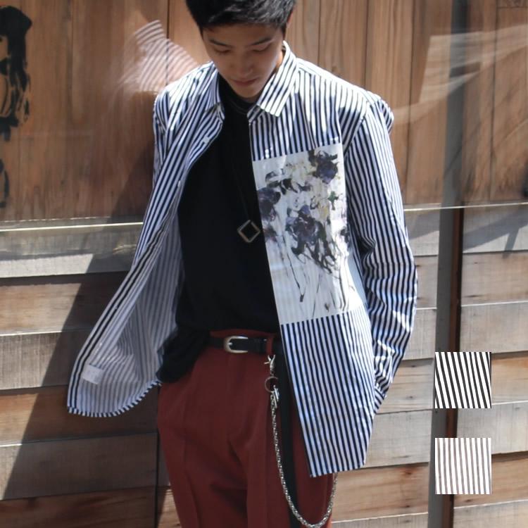 【新着】Cuirs(キュイー)メンズシャツ オリジナルロンドンストライプフラワープリントシャツ新作デザイン
