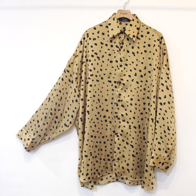 【新着】Cuirs(キュイー)メンズシャツ オリジナルダルメシアン柄サテンビックシャツ新作デザイン