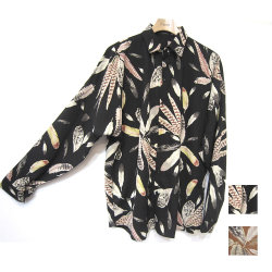 【新着】Cuirs(キュイー)メンズシャツ オリジナルフェザー柄ドルマンスリーブさらさらシャツ新作デザイン
