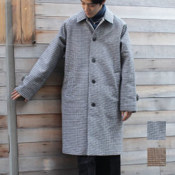 【新着】Cuirs(キュイー)メンズコート オリジナルガンクラブチェックステンカラーコート新作デザイン