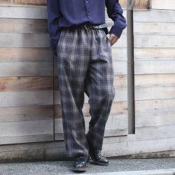 【セール】【新着】Cuirs(キュイー)メンズパンツ オリジナルグレンチェックワイドパンツ新作デザイン