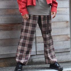 【新着】Cuirs(キュイー)メンズパンツ オリジナルグレンチェックワイドパンツ新作デザイン