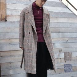 【新着】Cuirs(キュイー)メンズコート オリジナルグレンチェックロングトレンチコート新作デザイン