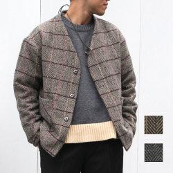 【セール】Cuirs(キュイー)メンズジャケット オリジナルツイードヘリンボン柄ノーカラーショート丈ジャケット新作デザイン