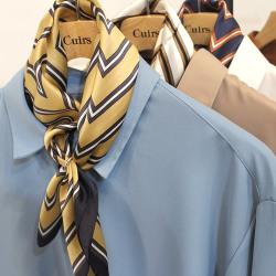 【新着】Cuirs(キュイー)メンズスカーフ リング付きストライプさらさらバンダナ新作デザイン