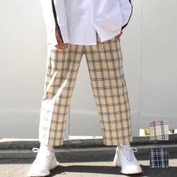 【新着】Cuirs(キュイー)メンズパンツ オリジナルチェック柄9分丈イージーワイドパンツ新作デザイン